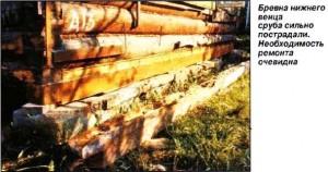 Плохое состояние фундамента деревянного дома