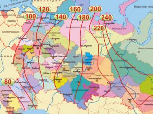 Карта для определения глубины промерзания грунта