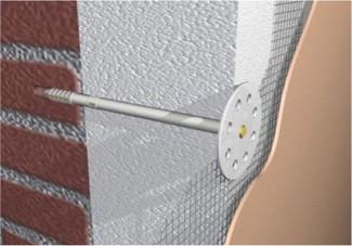 Крепление пенопласта с помощью специальных гвоздей