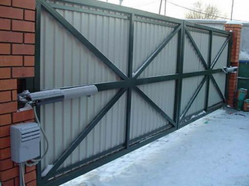Автоматизированные распашные ворота вид вблизи