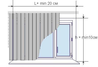 Замер вертикальных жалюзи с установкой «на проем»