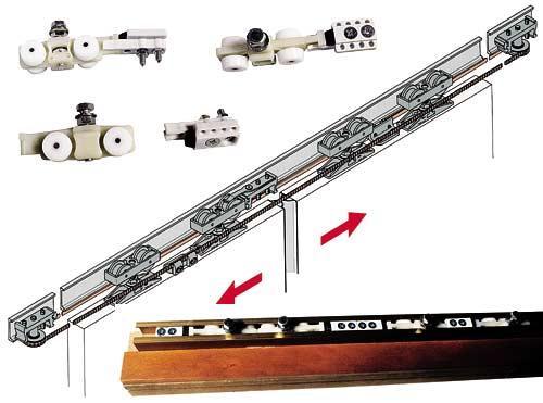 Пример роликового механизма раздвижной двери