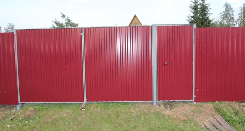 Ворота забор из профнастила своими руками фото
