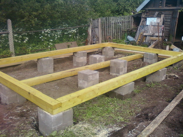 Столбчатый фундамент из блоков 20х20х40