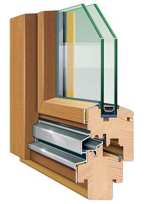 Стеклопакет в разрезе для деревянного окна