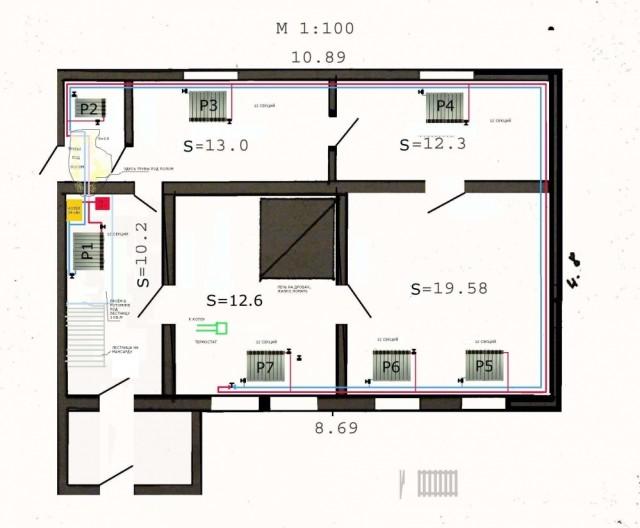 Пример расчета системы обогрева частного дома