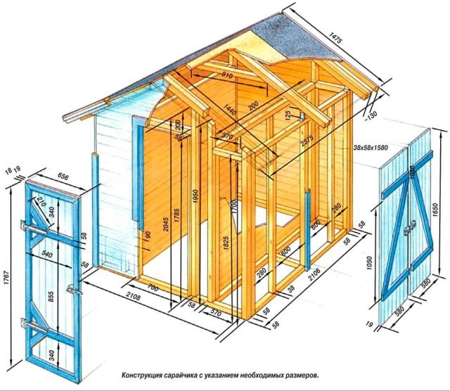 Схема постройки сарая из профнастила