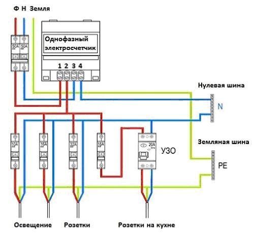 Схема однофазного счетчика
